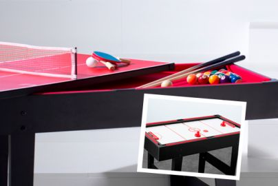 Multibord 3-i-1 biljard, airhockey og bordtennis