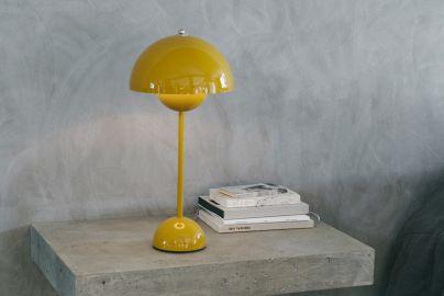Panton Flowerpot Bordlampe VP3 blank gul