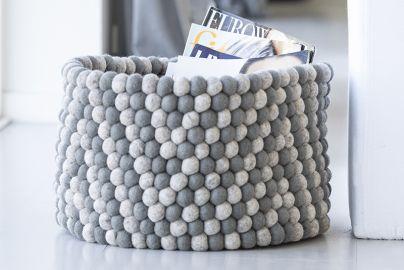 Hay bead basket grå