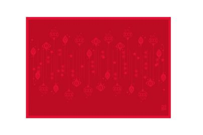 Uno Image DAMASK juleduk øko og 8 servietter rød