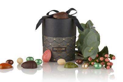 Sylinder med fylte sjokolader, marsipan og sjokoladeegg, 200g