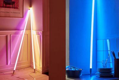 Hay neonrør LED blå, rosa og varm hvit