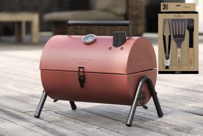 Grillin & Chillin BBQ grill rød og grillsett