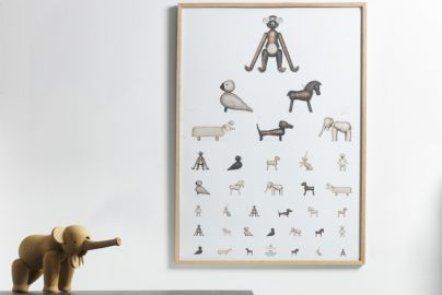 Kay Bojesen poster tavle og elefant