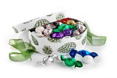 Stor hatteeske grønn kongle sjokoladekuler 600g