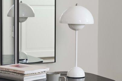 Panton Flowerpot bordlampe VP3 blank hvit H50 cm