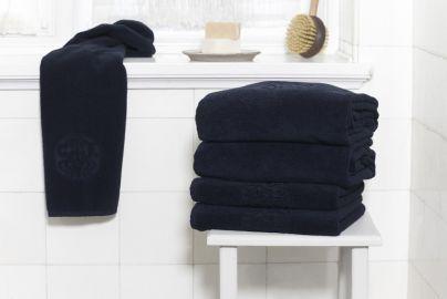 GJD ØKO håndklær Monogram kongeblå 4+4